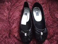 ladies diamante bow ballet shoe