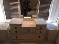 Vintage dressing table with bevelled mirror - chest, dresser, chest of drawers, antique, shabby chic