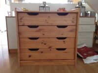 Pine Wardrobe, chest of drawers and open shelving unit - to sell as a set
