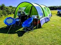 Hi-Gear Enigma 4 tent, with extention canopy, footprint and fitted carpet.