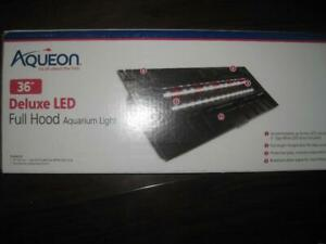 AQUEON LED Background Light Hood 36 Fish Aquarium Tank. LED Light Fixture. Aquatic Pet Safety and Health. Feeding Door