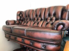 Leather chesterfield 3/1 antique brown