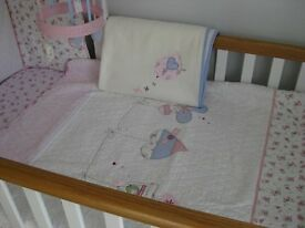 Vintage Love & Kisses baby cot bedding and mobile