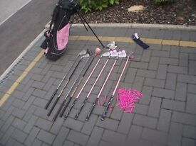young girls golf bag, clubs, tee's and balls, some pink others not collect or view Stonehaven