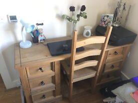 Solid wood rustic desk