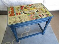 Decoupage Vintage Blue Beano Kids Side Table Newly Refurbished