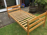 Full size single pine bed frame