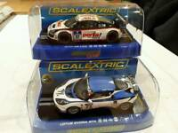 Scalextric slot cars Lotus Evora, Audi R8