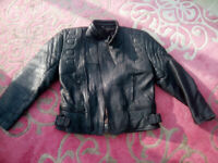 Black leather Motorcycle jacket size 46 approx 38 inch chest