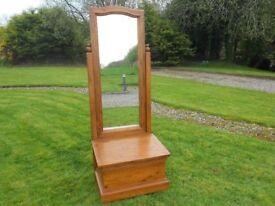 Large Pine Distressed Look Mirror + Storage