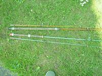 Fishing tackle: 2 1970s rods, both rods are 7-foot, made of fibreglass, with tube to hold rods. £10