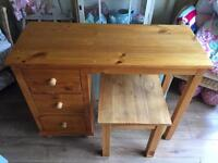 Solid pine dressing table/ desk with stool