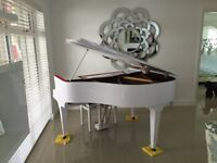 REAL WHITE GLOSS BABY GRAND PIANO DIGITAL CONVERSION.