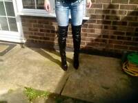Black over knee boots £20 ono