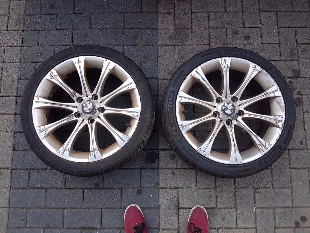 "BMW Style 166 M5 Replica 18"" Alloy Wheels & nearly new tyres e36 e46"