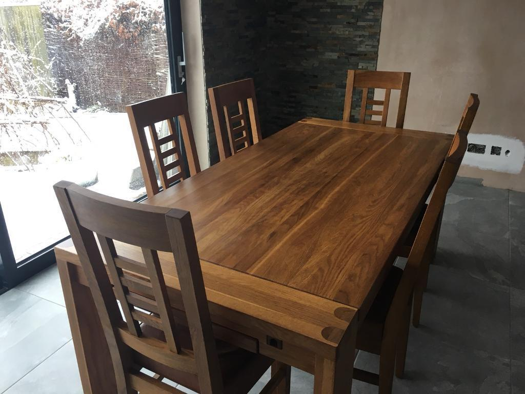 Oak Table And Six Dining Chairs Pudsey West Yorkshire