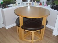 Oak Round Table with Leather-Topped Stools