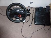 PS3 steering wheel and pedal set