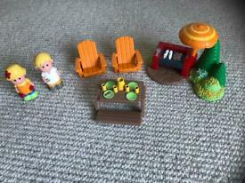 ELC Happyland Rose Cottage Garden BBQ set. All complete