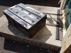 large vintage metal trunk