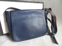 "SMYTHSON navy leather Messenger Bag ""boys will be boys"" - New"