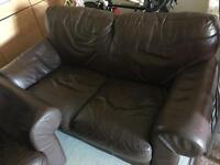 Brown Leather 2 Seater Sofa + Chair