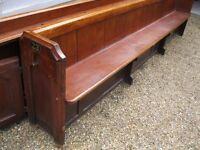 """11 ft 3"""" VICTORIAN CHURCH PEW. DELIVERY POSS. Chapel chairs also for sale."""