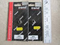 """Two off Trend ¼"""" router collets for Makita 3700B or 3705. Trend part 06053."""