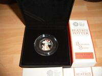 Beatrix Potter and her little tales, this is for Benjamin Bunny silver proof coin, new.