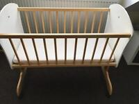 Baby wooden crib cot with mattress