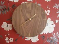 Wall Clocks - Walnut veneer or fabric covered - Leicester and Wigston