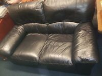 black 2 seater leather sofa