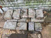 Approx 100 decorative stone garden bricks / blocks
