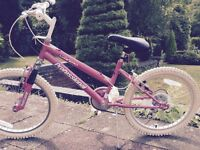 Girls pink bike and cycle helmet. 20 inch wheels ,has bell.excellent condition.