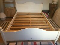 Cream Wooden Double Bed Frame