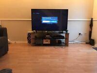 Glass oak 55inch TV stand