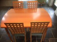 Matching extending dining table, dresser and display cabinet for sale
