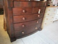 CHEST OF DRAWERS BOW FRONTED EDWARDIAN MAHOGHANY ORIGINAL 6 DRAWERS