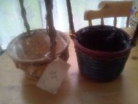 2 LOVELY WICKER BASKETS WITH LININGS AND HANDLES,VERY GOOD CONDITION