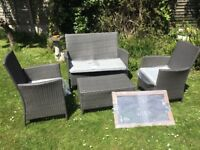 Garden Furniture 4 Piece Poly Rattan Garden Set Sofa 2 Armchairs and Coffee Table