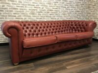 Red Leather Chesterfield Buttoned Club Sofa
