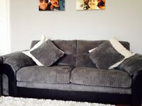3 seater +3 seater + arm chair in grey