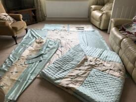 King size duvet, pillowcases, throw and curtains