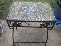 Ironwork Occasional Table with Butterfly Inset Stone Decoration - Renovation Project