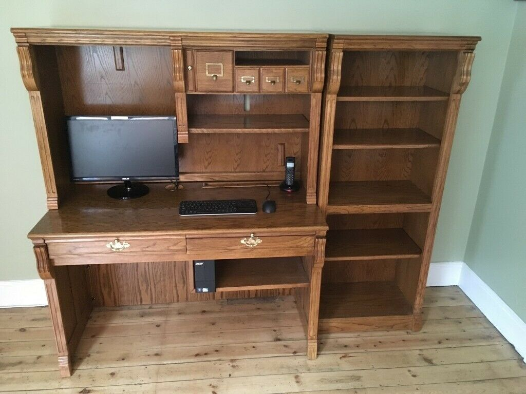 Solid Honey Oak Computer Writing Desk Matching Bookcase In Braintree Essex Gumtree