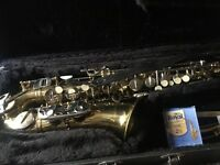 Alto saxophone with case and new reeds, Boosey and Hawkes, very good condition