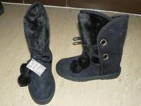 Black Ella Pom Pom Uggs size 3 - new and not worn