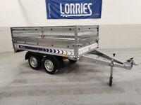 Car trailer twin axles 750 kg mesh sides