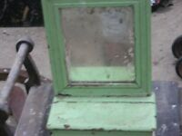 antique painted mirror wooden with storage compartment for sale