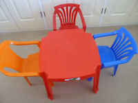 Children's plastic table and chairs